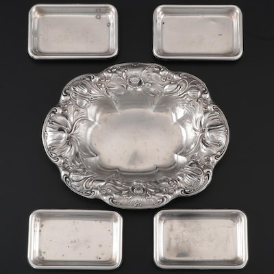 Wallace Sterling Silver Dish with Poole Sterling Silver Butter Pats