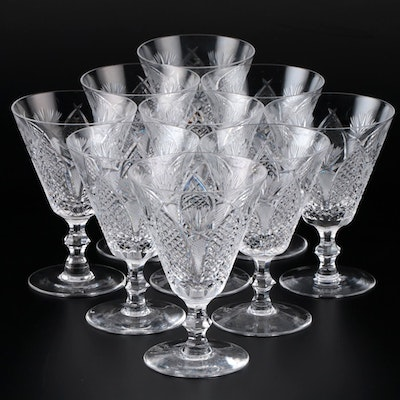 "Waterford ""Dunmore"" Crystal Water Goblets, Late 20th Century"