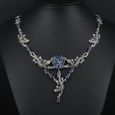 Sterling Silver Sapphire and Marcasite Lizard Link Necklace