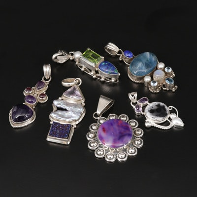 Sterling Pendant Collection Including Mexican Silver, Labradorite and Amethyst
