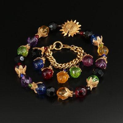 Beaded Multi-Colored Glass Necklace and Bracelet