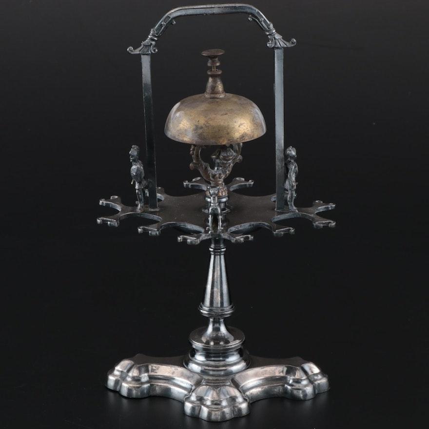 Simpson, Hall, Miller Co. Figural Triple Plate Dinner Bell Spoon Holder, 1880s