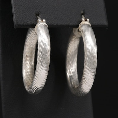 Sterling Hoops with Twisted Cable Motif