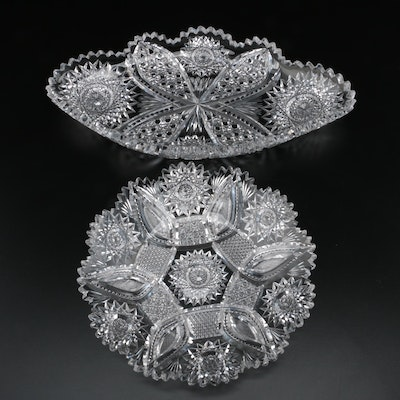 "American Brilliant Period ""Marietta"" Pattern Cut Glass Celery Dish and Nappy"