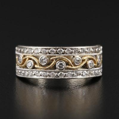 14K Gold Diamond Openwork Ring