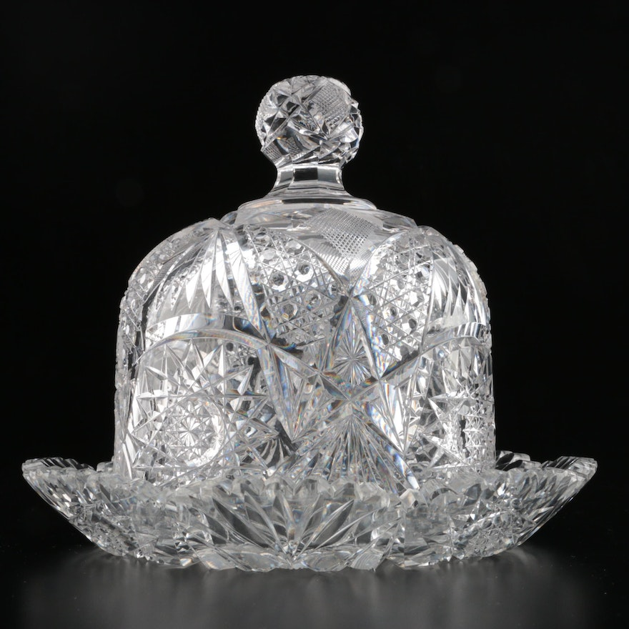 American Brilliant Period Cut Glass Cheese Plate and Dome