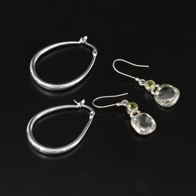 Earring Assortment Including Sterling, Peridot and Prasiolite