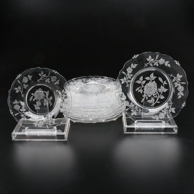Clear Etched Glass Luncheon and Salad Plates