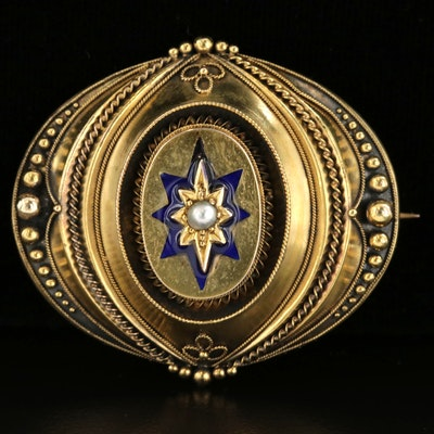Victorian 14K Yellow Gold Seed Pearl and Enamel Converter Brooch