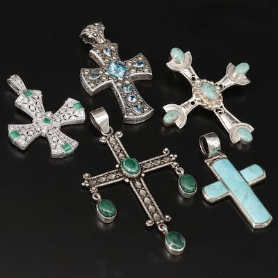 Sterling Silver Cross Pendants with Emerald, Judith Ripka and Samuel Benham