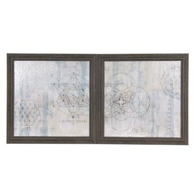 "Embellished Giclées after Oliver Jefferies ""Geometrie I"" and ""Geometrie II"""