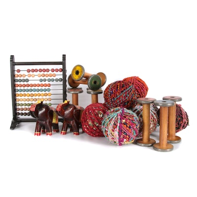 Hand-Painted Wooden Abacus, Yarn Spools and Decor