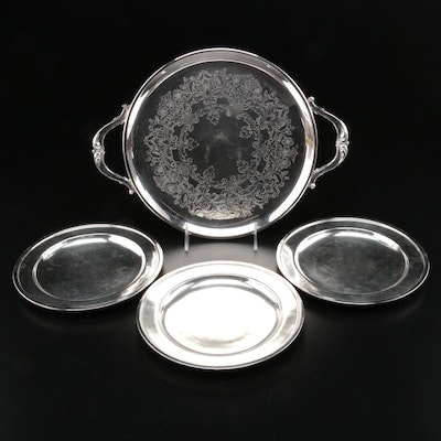 Gorham Palmer House Hotel Silver Plate Plates with Etched Serving Tray