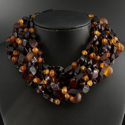 Amber and Resin Multi-Strand Necklace