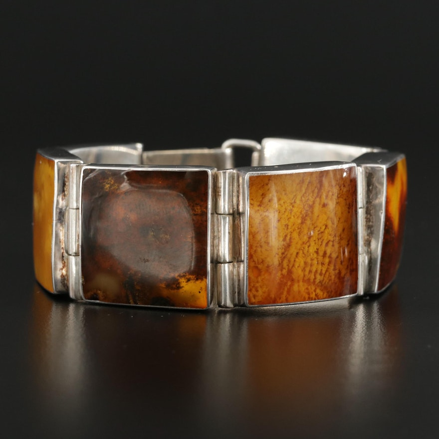 Sterling Silver Amber Square Panel Bracelet Including Mutton Fat Amber