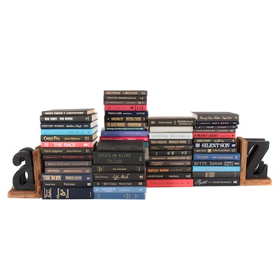 Dozens of Hardback Books and A-Z Wooden Bookends