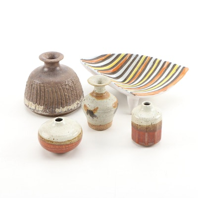 Berea College Miniature Vase and Other Earth Tone Pottery
