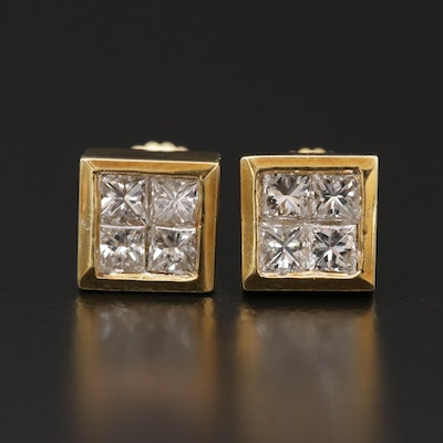 18K Yellow Gold Invisible Set Diamond Stud Earrings