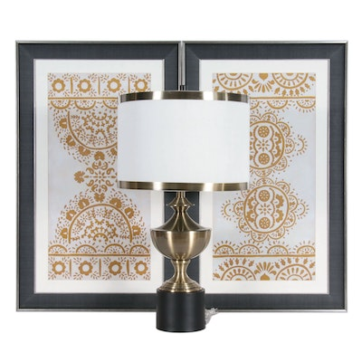 Giclée Prints in Stylized Floral Motif and Urn Table Lamp