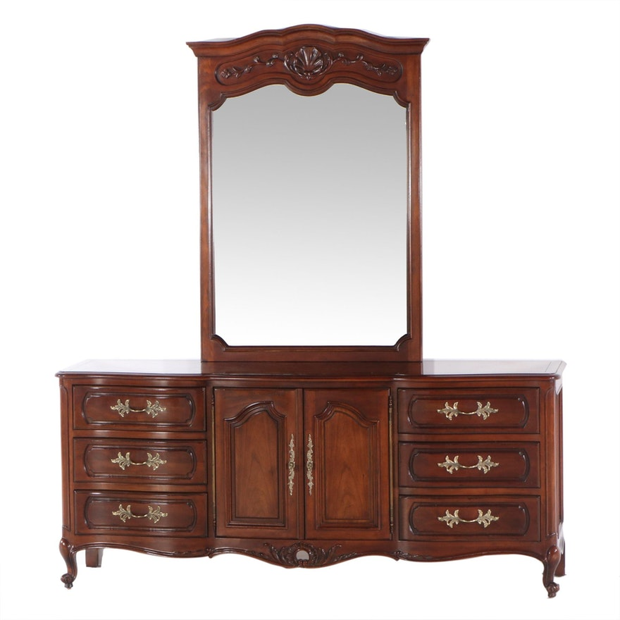 Century French Provincial Style Cherry Dresser and Mirror, Late 20th Century