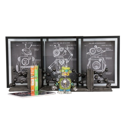 Robot and Science Themed Wall Décor, Bookends and Books