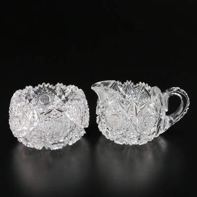 "Egginton American Brilliant ""Trellis"" Cut Glass Cream and Sugar Set"