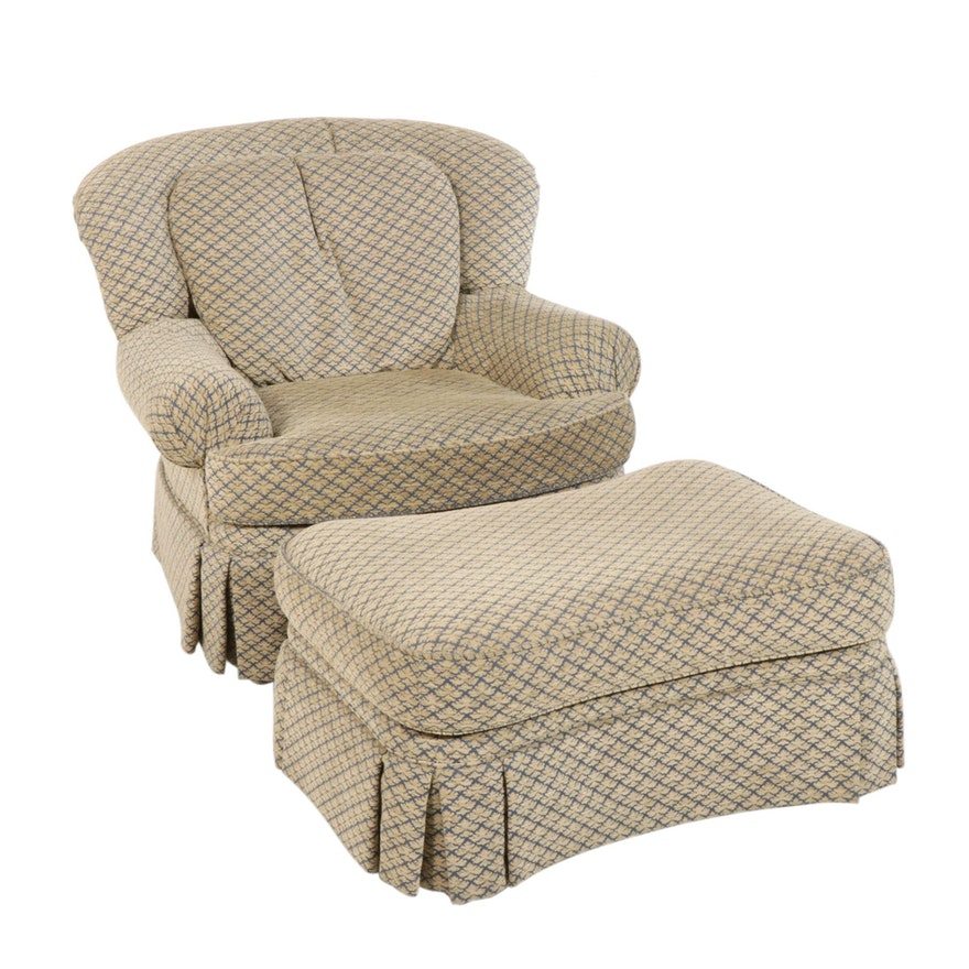 Pearson Chenille Upholstered Armchair with Ottoman