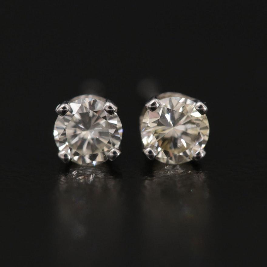 14K White Gold 0.40 CTW Diamond Solitaire Stud Earrings