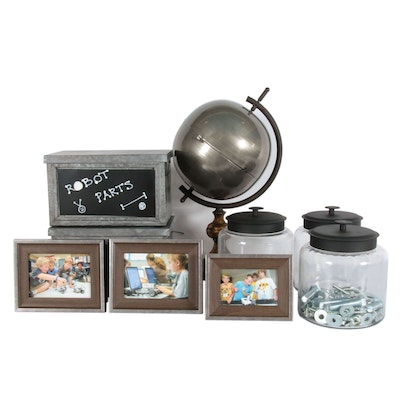 Vintage Style Décor Including Metal Globe, Glass Canisters and Frames