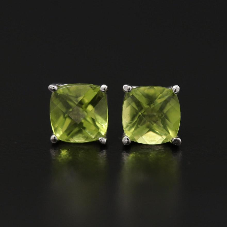 14K White Gold Peridot Stud Earrings