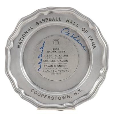 Duke Snider and Al Kaline Signed National Baseball Hall of Fame Plate, JSA COA