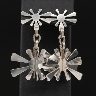 Modernist Style Sterling Silver Dangle Earrings