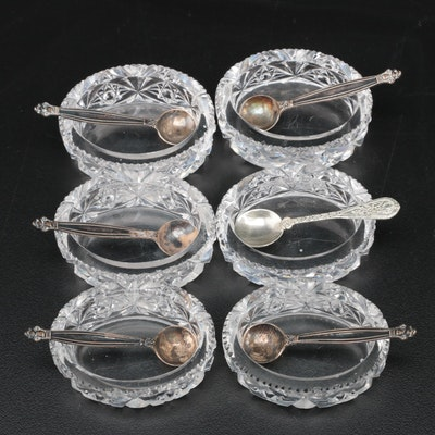 Hawkes Style Cut Crystal Salt Cellars with Sterling Silver Salt Spoons