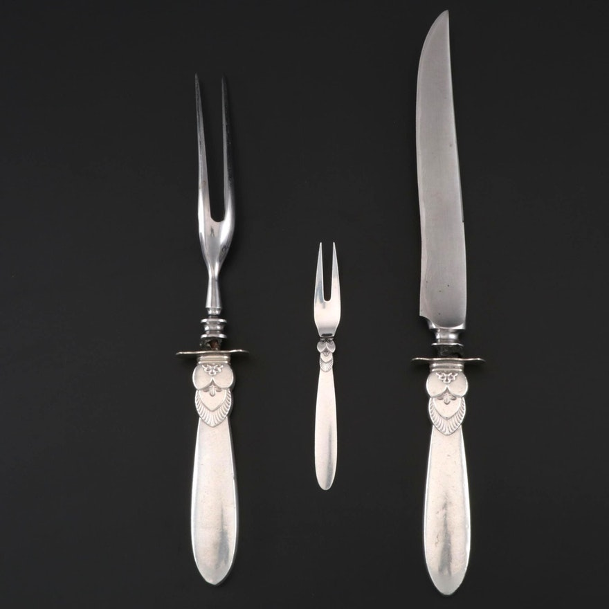 """Georg Jensen Sterling Silver """"Cactus"""" Carving Set and Date Fork"""