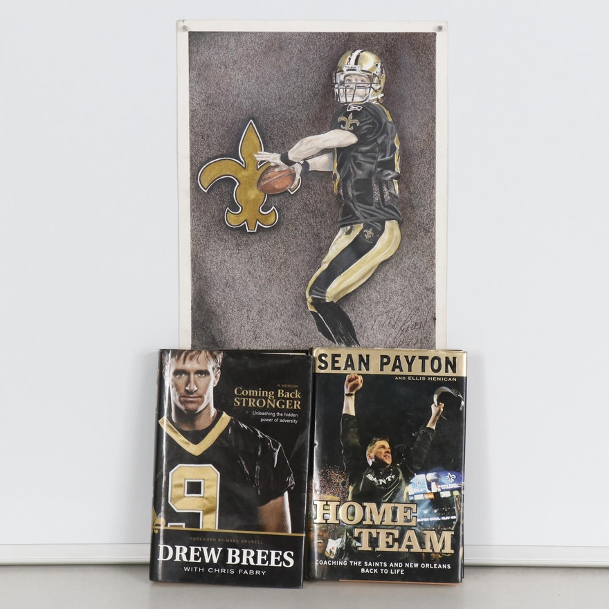 New Orleans Saints Memoirs by Drew Brees and Sean Payton with Portrait Drawing