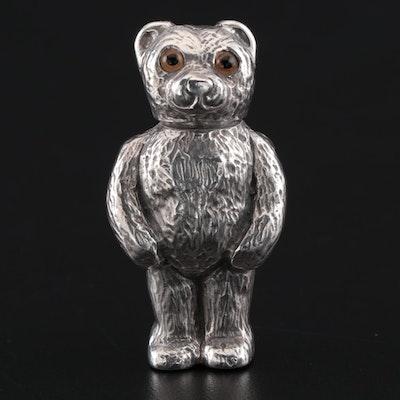 David A. Bowles English Sterling Silver Teddy Bear Match Holder, 1996