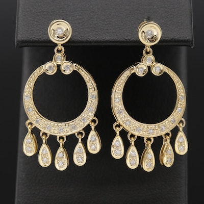 14K Yellow Gold Diamond Lined Hoops with Dangle Accents