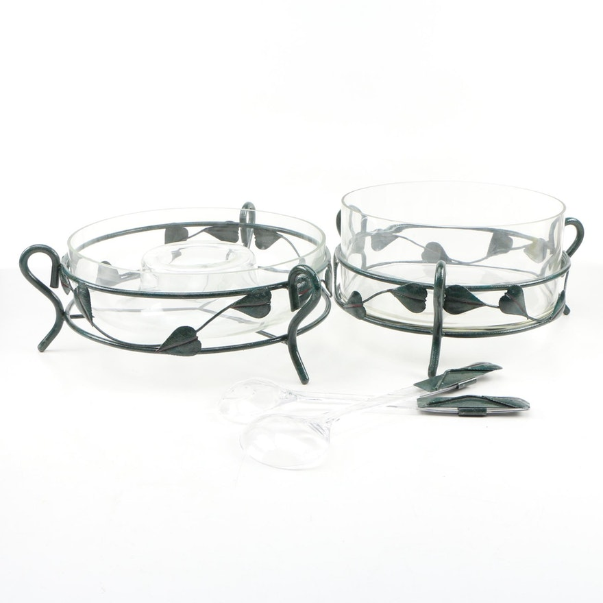 Vine Motif Metal and Glass Salad Serving Bowl and Chip and Dip