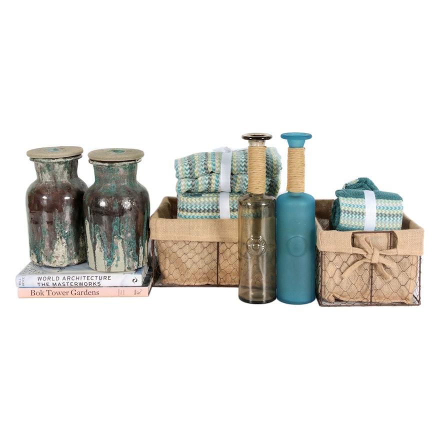 Glazed Ceramic Vessels, Bath Towels, Home Décor Books, Bottles and More