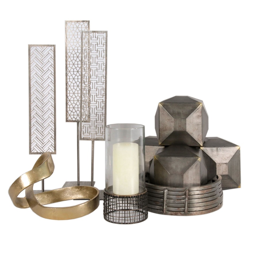 Brutalist Style Candle Holder, Sculptures and Décor
