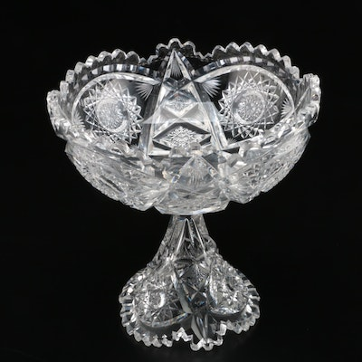 Libby American Brilliant Cut Glass Sawtooth Rim Compote