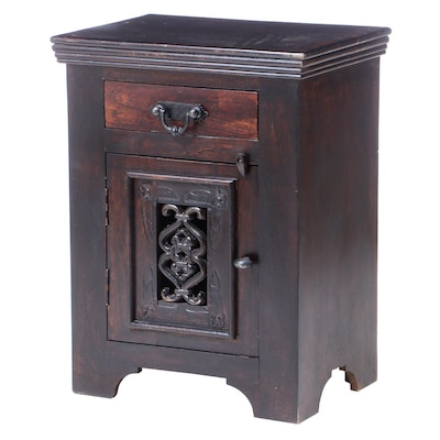 Chinese Style Cast Metal-Mounted and Dark-Stained Bedside Cabinet