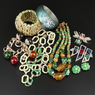 Assorted Jewelry Including Vintage Glass, Early Plastic and Rhinestones