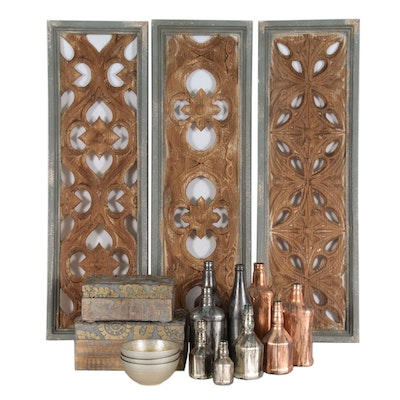 """""""Bodega"""" Glass Decorative Bottles, Bowls, Carved Wooden Boxes and Wall Panels"""