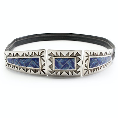 Dan Jackson Navajo Diné Sterling, Lapis Lazuli and Denim Lapis Buckle with Belt