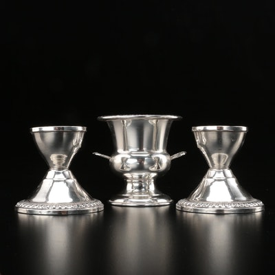 Crosby Weighted Sterling Silver Candlesticks with Sterling Toothpick Holder