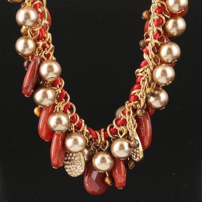 Carolee Assorted Gemstone Fringe Necklace