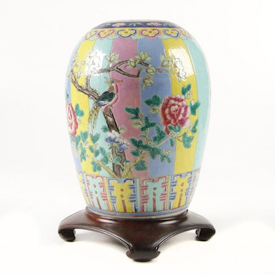 Antique Chinese Qing Dynasty Period Famille Rose Porcelain Wedding Jar