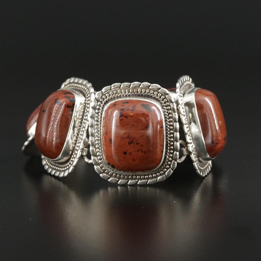 Sterling Silver Jasper Panel Bracelet