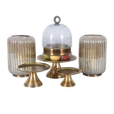 Domed Centerpiece, Metal Desert Stands and Glass Candleholders
